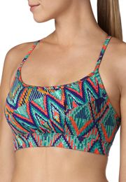 multi-color banded bottom lattice back sport bra - maurices.com