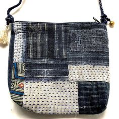 77741cc89aea Indigo Crossbody Bag - Hmong Hemp Fabric and Boro Stitching