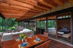 modern house design with sliding glass doors