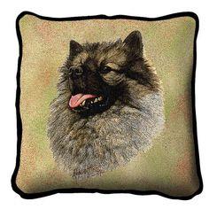 Keeshond Dog Portrait Pillow