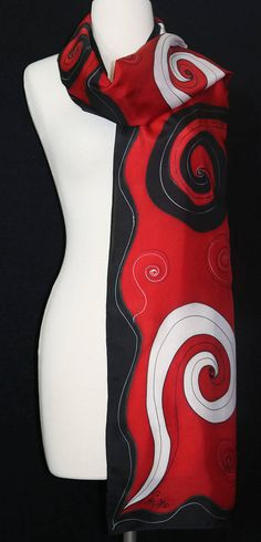 Silk Scarf Red Black Hand Painted FLAMENCO DANCE, in 3 SIZES, by Silk Scarves Colorado. Birthday Gift. Anniversary Gift. Mother Day Gift. Hand Dyed Silk Scarf. Handmade in Colorado USA. 100% silk. Free Gift Wrapping. MADE TO ORDER silk scarf - the perfect gift! This is a 100% Hand Painted Fabric, Fabric Ornaments, Colorado Usa, Dyed Silk, Manish, Fabric Painting, Shawls And Wraps, Silk Scarves, Wearable Art
