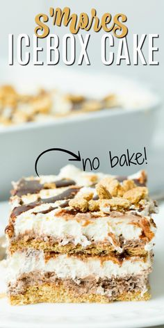 A cold slice of Icebox Cake is just what you need when the the temperatures climb. It's even better when your cake tastes like s'mores! Icebox Desserts, Icebox Cake Recipes, Frozen Desserts, Holiday Desserts, No Bake Desserts, Cupcake Recipes, Frozen Treats, Dessert For Dinner, Dessert Drinks