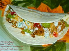 The Weekend Gourmet: Fish Tacos with Garlic-Lime Crema.Featuring Land O Lakes ® Sauté Starter Gourmet Recipes, Dinner Recipes, 30 Minute Meals, Fish Tacos, Lime, Allrecipes, Entrees, Mexican, Favorite Recipes