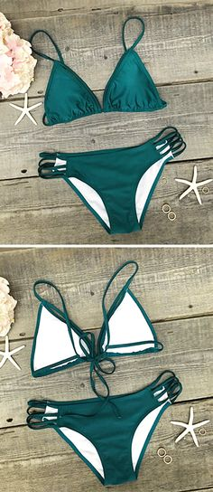 You're comin' in hot. The style and pattern of this Green Strappy Bikini Set is very trendy. The bikini bottom detailed with high cut that offers perfect coverage for a very hot cheeky look. No wonder, it's the perfect swimwear for this summer.