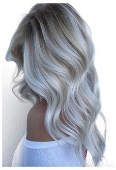 Platinum Blonde Hair Color, Silver Blonde Hair, Blonde Hair Looks, Black Hair, Silver Platinum Hair, Platinum Blonde Highlights, Icy Blonde, White Ombre Hair, Silver White Hair