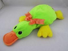 TY Pillow Pals Green Stuffed Plush Puddles Platypus Animal Soft Cute Toy EUC #Ty