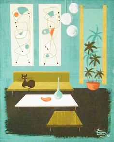 El Gato Gomez Painting Mid Century Modern Retro Eames Interior Design Home Cat   eBay  $175
