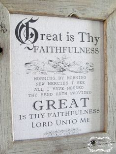 """""""Great is Thy Faithfulness"""" Hymn Print on Natural Cotton Fabric - 8 x 10"""" Ready to Frame - Hymns and Verses on Etsy"""
