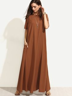 Brown Short Sleeve Zipper Back Maxi Dress | MakeMeChic.COM