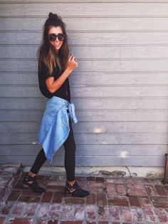 rvca tee| similar denim shirt  | paige denim  | free people shades  | jeffrey campbell boots