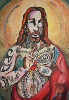 """Jesus Loves Ink"" - by Alexis Covato from Pop Art gallery Colorful Artwork, Contemporary Artwork, Religious Icons, Religious Art, Jesus Artwork, Christ The King, Drawing Practice, Our Lady, Jesus Loves"