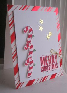Stampin' Seasons: Rule of - SU - Candy Canes - Christmas Chrismas Cards, Christmas Cards 2018, Homemade Christmas Cards, Merry Christmas Card, Xmas Cards, Homemade Cards, Holiday Cards, Christmas Parties, Christmas 2017