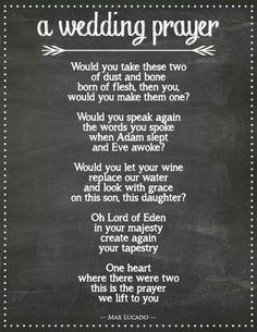 The wedding prayer Max Lucado wrote for his daughter's wedding.