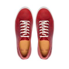 These stylish red genuine leather sneakers can be seen in many a music video and on your most stylish of male icons. Perfect for both smart and casual occasions I am sure that these will fast become a favorite among your footwear collection.  Made from super soft genuine leather that is then given its bright vivid red coloring, teamed with the crispness of the white rubber sole and laces these sneakers are eye-catching to say the least. Slip On Sneakers, Leather Sneakers, Slip On Shoes, Photography Ideas, Fashion Photography, Cow Leather, Chuck Taylor Sneakers, Keds, Coloring