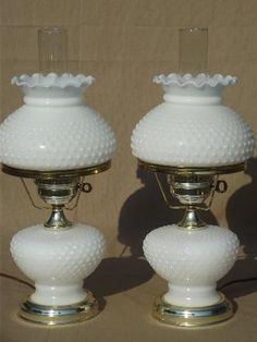 vintage hobnail milk glass student lamps w/ chimney lamp hurricane shades