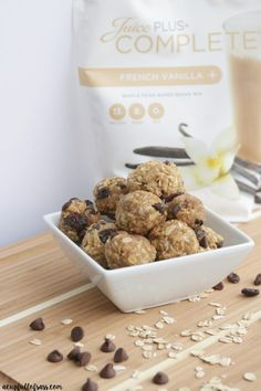Bake Protein Energy Balls Juice Plus Complete No bake energy balls. My favorite healthy snack.Juice Plus Complete No bake energy balls. My favorite healthy snack. Juice Plus Shakes, Meal Shakes, Healthy Protein Snacks, Healthy Smoothies, Smoothie Recipes, Protein Foods, Vegan Protein, Protein Bites, Whole Food Recipes