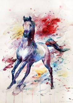 Watercolor horse by ElenaShved on DeviantArt Horse Drawings, Animal Drawings, Art Drawings, Watercolor Horse, Watercolor Animals, Watercolour, Splash Watercolor, Watercolor Paintings, Arte Equina