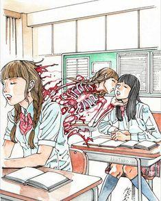 Emo, Arte Peculiar, Grunge, Arte Cyberpunk, Creepy Art, Art And Illustration, Aesthetic Art, Japanese Art, Manga Art
