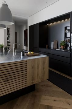 kitchen-island-with-wood-slats-dinesen-wood-floor-black-backsplash-denmark-garde-Hvalsoe We've featured the work of Copenhagen-based Garde Hvalsøe before (they're the fabricators behind Noma star chef René Redzepi's kitchen and the impeccable D Home Decor Kitchen, Interior, Home, Kitchen Remodel, Home Remodeling, Contemporary Kitchen, Home Kitchens, Modern Kitchen Design, White Kitchen Design
