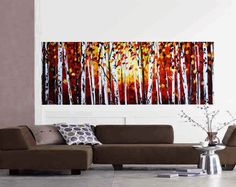 """72""""xxl painting large red birch garden original texture palette knife painting free shipping, from jolina anthony signet  express shipping"""