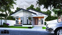 I like the front door Modern Bungalow, Bungalow House Design, Bungalow House Plans, Small House Design, Dream House Plans, Modern House Plans, Modern House Design, Facade House, House Roof