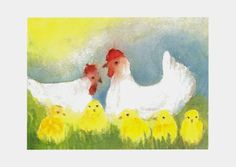 March ~ Spring Painting ~ Hens with Chicks
