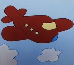 """""""Avión rojo"""" // 20 x 20 x 3,5 cm // Gouache (pintura al agua) sobre lienzo // Bastidor pintado (no requiere marco) // Obra original, pintada a mano **55,00 € ** Más información en el tablero """"Mankel: venta y contacto"""""""