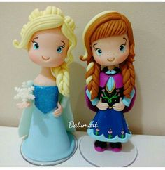 Frozen Fondant, Anna Cake, Olaf Cake, Frozen Theme Cake, Elsa Cakes, Clay Dolls, Themed Cakes, Cake Toppers, Biscuits