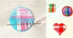 刺繍糸をタテ糸とヨコ糸を交差させて、まるで織り物を織るように面を埋めていく刺繍を知っていますか? ダーニングマッシュルームという木製の道具を使うダーニングと似ていますが、今回は身近な刺繍枠を使って簡単にできるやり方をご紹… Felt Embroidery, Cross Stitch Embroidery, Embroidery Patterns, Pattern Coloring Pages, Origami Paper Art, Sewing Techniques, Handmade Crafts, Handicraft, Lana