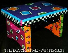 Hand Painted Wooden Bar Stool Painted Furniture