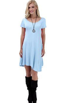 VIISHOW Women's Short Sleeve Casual Loose T-Shirt Dress (XL, Light Blue)