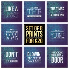 "Set of 8  Bob Dylan Song Title Prints - Square 8x8"" Each - Quote Blues Folk Rock Pop Music Lyric Typography - Poster Wall Art Gift Mancave #bobdylan #poster #foreveryoung #likearollingstone #allalongthewatchtower #thetimeareachanging #mrtambourineman #dontthinktwice #blowininthewind #knockinonheavensdoor #poster"
