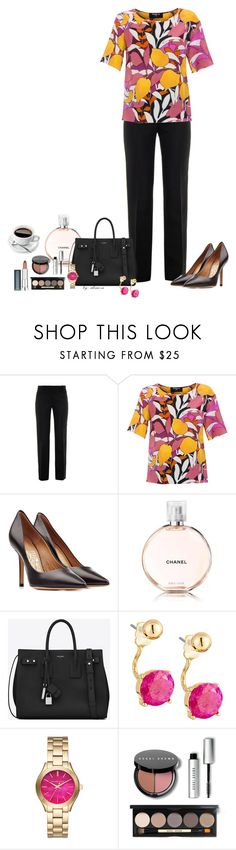 """""""Tuesday's Outfit"""" by alina-n ❤ liked on Polyvore featuring Versace, Paule Ka, Salvatore Ferragamo, Chanel, Yves Saint Laurent, Lydell NYC, Michael Kors, Bobbi Brown Cosmetics, Maybelline and ootd"""