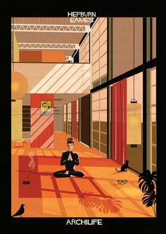 """Archilife,"" an illustrated series by Federico Babina, depicts canonical modernist structures inhabited by classic film stars, such as Audrey Hepburn."