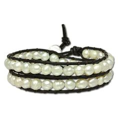 SilberDream leather bracelet with white culture pearls, variable size, leather bracelet genuine leather LAN014 SilberDream Leather. $20.95