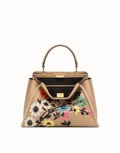 FENDI PEEKABOO REGULAR - Brown leather bag - view 1 detail Rainbow Bag 4c84a50ac9452