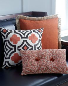 Ginger, Spice, and Orange Accent Pillows, I have an orange lamp that would match perfectly, think the pillows would tie the room together #horchow
