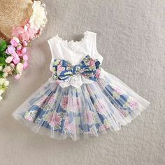 New girls dress cotton floral dress for baby girl with bow yarn elegant dresses children and kids clothese jean dress retail(China (Mainland)) Fashion Kids, Baby Girl Fashion, Dresses Kids Girl, Little Girl Dresses, Kids Outfits, Girls Tulle Skirt, Dress Anak, Baby Dress Design, Kids Frocks