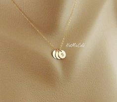 3 initials GOLD Fill Necklace Customize Monogram by hotmixcold. Want this with the kiddos and my initials too cute!