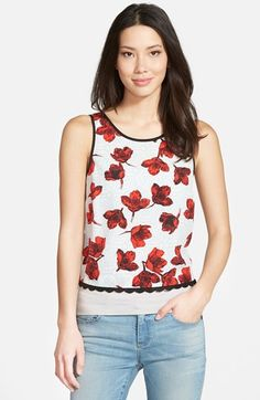 'Etched Poppies' Crop Top