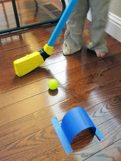 Simple game for kids' indoor play. Indoor Counting Croquet, from Toddler Approved! Gross Motor Activities, Rainy Day Activities, Indoor Activities, Craft Activities For Kids, Projects For Kids, Preschool Activities, Crafts For Kids, Summer Activities, Rainy Day Games
