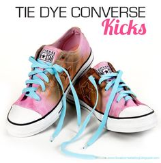 dye converse all stars, pink and brown.