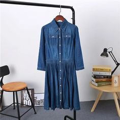 Spring and Autumn New Arrival Plus Size Women Clothing, Female Fashion Loose Casual 4XL Denim Dress Elegant Slim Dresses