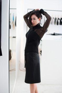 Košile a sukně od Marie Mukařovské, spodníčka Soolista, shirt, skirt, fashion, black, Foto: Jan Hromádko #design #czechdesign