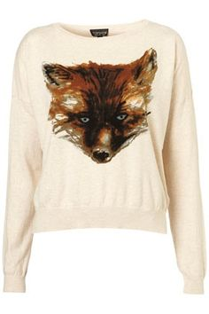 Knitted Painted Fox Jumper - StyleSays
