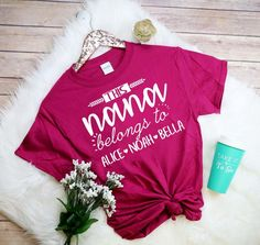 Personalized gifts for all occasions - baby, wedding, graduation and more; adding a personal touch is easy when you shop with us. Momma Shirts, Shirts For Girls, Flower Girl Shirts, Cheer Mom, Vinyl Shirts, Personalized Shirts, T Shirts With Sayings, Shirt Outfit, Shirt Designs