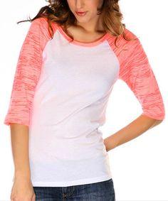 This White & Flamingo Burnout Raglan Top by Kavio! is perfect!