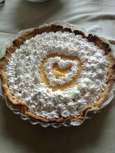 Lemon pie! with a whipped cream heart for valentine's day