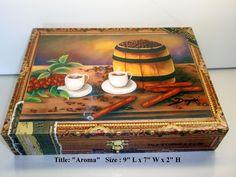 """Aroma"" Cuban Art. Cigar Box w/original Paintings on top. CRC"
