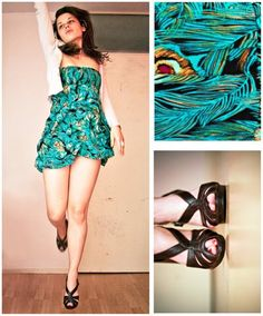 Turquoise peacock feather dress